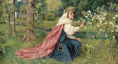 "| George Dunlop Leslie (English, 1835-1921), ""Matilda - Dante, Purgatorio, Canto 28"" 