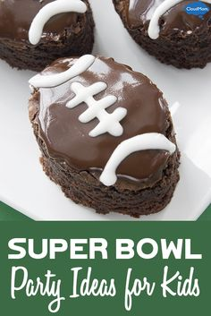 Fun Super Bowl party ideas for the kids including games and yummy super bowl themed food!