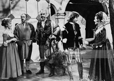 Sheila Reid, Sir Alec Guinness, Sir Ralph Richardson, Tommy Steele and Adrienne Corri in a scene from a television adaptation of Twelfth Night, by William Shakespeare. ATV (UK), 1968