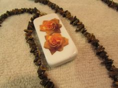 "Yellow and Brown Roses Domino Necklace Jewelry On A 33"" Chain of Brown Stones #Handmade #Chain"