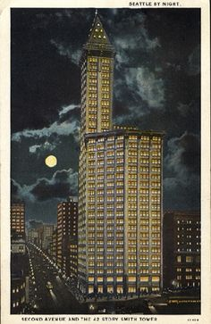 Smith Tower. It was the tallest building west of the Mississippi for almost 50 years.   http://www.smithtower.com/index.html