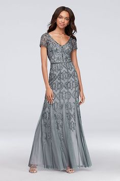 f67ad194c289 Beaded Mesh V-Neck Sheath Gown with Cap Sleeves Style AP1E203612