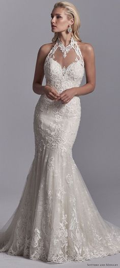 sottero and midgley 2018 bridal trends illusion high halter neck heavily embellished mermaid lace wedding dress (nerida) mv elegant romantic -- 2018 Wedding Dress Trends to Love Part 1 #weddingdress