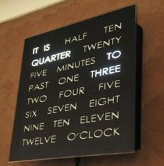 This clock has my name all over it... but how does it tell the minutes between intervals of fifteen?