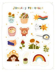 Printable Stickers, Cute Stickers, Planner Stickers, Sticker Shop, Sticker Design, Doodle Online, Posca Art, Korean Stationery, Cute Doodles