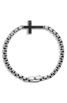 Men's David Yurman Pave Black Diamond Cross Station Bracelet - Black Diamond