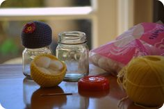 Crochet pin cushion Jar toppers free pattern 2