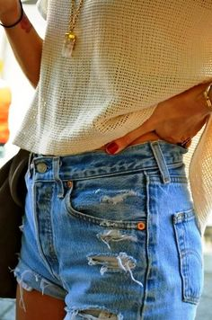 Ripped Jeans Shorts with White Net Blouse