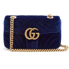 Gucci GG Marmont mini quilted-velvet cross-body bag ($1,490) ❤ liked on Polyvore featuring bags, handbags, shoulder bags, gucci handbags, mini crossbody, crossbody purse, blue shoulder bag and crossbody shoulder bag