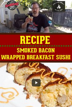 Bacon explosion doesn't get better than this bacon wrapped breakfast sushi recipe. If you love bacon, breakfast, and BBQ, you'll love this! Pork Picnic, Picnic Roast, Smoked Pork Shoulder, Pork Shoulder Recipes, Smoked Turkey Legs, Smoked Bacon, Pellet Grill Recipes, Grilling Recipes, Sushi Recipes