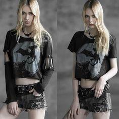 Women Black Short Long Sleeve Gothic Punk Emo Top Scene Clothing Shop SKU-11409258