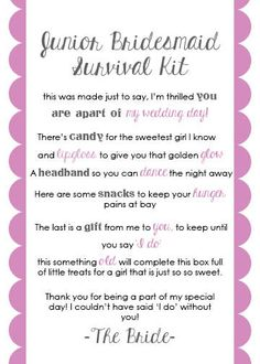 Junior Bridesmaid Survival Kit Card by LuluBellePaperCrafts this will be for kk! Cute Wedding Ideas, Gifts For Wedding Party, Our Wedding, Dream Wedding, Wedding Stuff, Wedding Veils, Wedding Ceremony, Wedding Flowers, Junior Bridesmaid Gifts