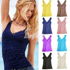 bcf13229f75ed US $6.98 |Women's Lace Sexy Hollow Out Casual Tank Tops Cami Camisole Slim  Fit Sleeveless-in Tank Tops from Women's Clothing on Aliexpress.com |  Alibaba ...
