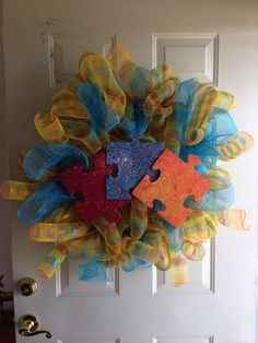 Autism Crafts, Gotcha Day, Wreath Ideas, Autism Awareness, 4th Of July Wreath, Aunt, Kentucky, Campaign, Wreaths