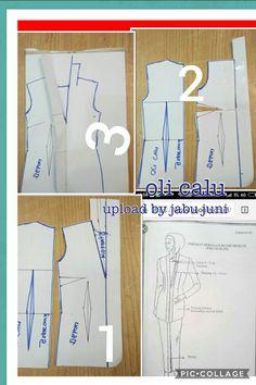 Kebaya kartini pattern Pola Kebaya Kutubaru, Kebaya Brokat, Dress Sewing Patterns, Blouse Patterns, Clothing Patterns, Kebaya Modern Dress, Kebaya Dress, Pattern Cutting, Pattern Making