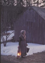 Tasha carries a lit lantern. I remember this last glint of light as I was leaving the barns. Sometimes I would have liked to freeze the moment.