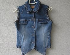 Blue Denim Vest  Fitted Pushbuttons Women Jeans Waistcoat  Extra Small Size