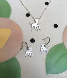 Standing Pit Bull Sterling Silver Necklace and Earrings Gift Set