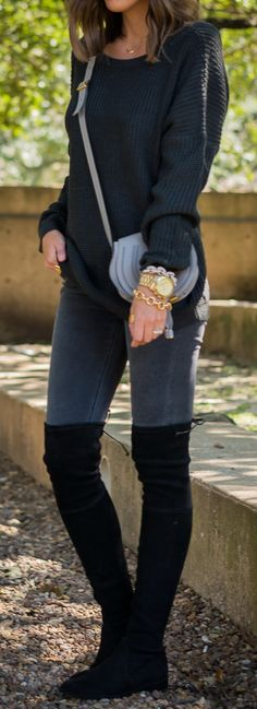 Shades of Grey. Not crazy about the boot/jean combo, but I'm loving the purse and the sweater. AND THAT BRACELET