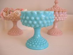 Fenton Hobnail Compote Candy Dish Turquoise Blue Green Aqua Milk Glass - Art Glass