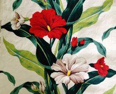 More Beautiful Begonias Vintage Mid Century Barkcloth Fabric