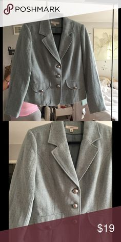 NWT Merona Jacket in Medium Color is Turquoise Splash and blazer has 3 silver colored large buttons and buttons on side pockets!  Shell is 71% Polyester, 23% Wool 6% Other Fibers Lining is 100% Polyester.  Matching skirt available in Size 8 separately listed! Merona Jackets & Coats Blazers