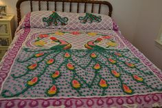 Vintage Chenille Plush  Peacock Cotton Bedspread 92 X 101