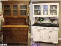 Jill Janine's Hutch - Before and After. White color is a custom mix of Annie Sloan decorative chalk paint in Old Ochre and Old White, Coco Trim (top, bottom, and where hutch meets buffet) with dark wax detailing. Buffet top is stained in Ebony with a graphite trim, also dark waxed. Sealed with clear wax. Inside of drawers in French Linen. Handles finished with Silver gilding paste.
