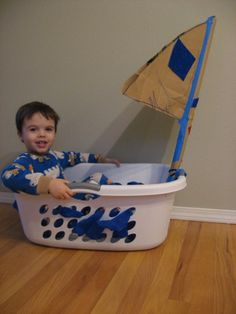 Laundry Basket Sail Boat – No Time For Flash Cards How easy to make.clothes basket to sail boat… (step by step directions). This is a great website with lots of craft ideas for toddlers and preschool Pirate Activities, Preschool Crafts, Toddler Activities, Learning Activities, Preschool Activities, Indoor Activities, Summer Activities, Kid Crafts, Family Activities