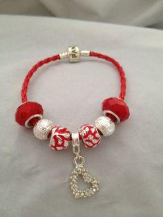 Show your Love Rhinestone Heart Bracelet, Pandora Style Cord