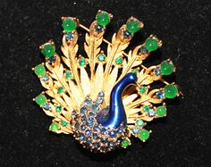 1960s Marcel Boucher RARE Peacock Brooch Signed