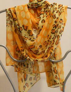 Festival Shawl,Womens Fashion Scarf,Orange Scarf, Long Silk Scarf,Leopard Print Scarf,Womens Scarves,  Sarong, Scarf, Gift For Her