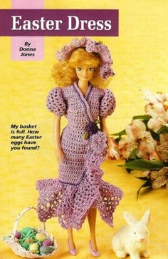 Crochet Fashion Doll Easter Dress for Barbie PATTERN | BeadedBundles - Instructional on ArtFire