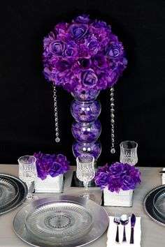 DIY Beautiful Purple Wedding Centerpiece in 3 Easy Steps! DIY Beautiful Purple Wedding Centerpiece in 3 Easy Steps! Purple Wedding Centerpieces, Unique Centerpieces, Wedding Flower Arrangements, Flower Centerpieces, Wedding Decorations, Centerpiece Ideas, Graduation Centerpiece, Quinceanera Centerpieces, Quinceanera Party