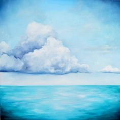 Your place to buy and sell all things handmade Blue Beach, Large Painting, Aqua Blue, A5, Illusions, Oil On Canvas, Original Paintings, Clouds, The Originals
