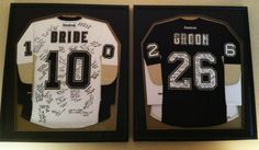 @Pittsburgh Penguins Wore these at our wedding last weekend. Got all our guests to sign them and now they are hanging above our bed. 10-26-13 ❤️