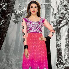 Shaded Peach and Pink Faux Georgette Jacquard Anarkali Churidar Kameez