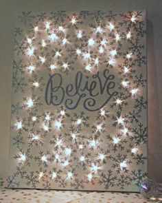 Christmas DIY: how to make a lighte how to make a lighted christmas canvas christmas decorations crafts fireplaces mantels seasonal holiday decor Christmas Canvas, Noel Christmas, Winter Christmas, Christmas Lights, Christmas Greetings, Handmade Christmas, Holiday Canvas, Lighted Christmas Pictures, Diy Holiday Gifts