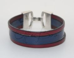 $31 - Men's or Women's Red and Blue Cuff Leather bracelet with Silver hook clasp. Approx. 7.5 inches