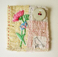 Textile vintage Fiber hand embroidered hand stitched Brooch .