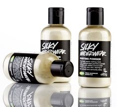 LUSH...Silky Underwear...Dusting Powder             Your body needs nothing more. Gives skin a silky feel and a sexy jasmine fragrance.Lush's iconic first ever dusting powder that is still a best seller.Your body will be smooth to the touch and intoxicating to the mind. Whether you want to get dressed after this is up to you.
