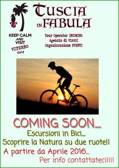 Da Aprile 2016 partirà la nostra programmazione per le escursioni in bicicletta. La Tuscia e la provincia di Roma sono pronte per essere scoperte… e te?  Seguiteci sul nostro sito o sulla pagina FB per scoprire le date!!!
