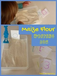 """An easy tool to use to help your preschooler start to write numbers, letters and draw shapes. I used maize flour(mieliemeel), but you can use salt as well. The idea is to write with the finger,for that #sensoryexperience as well. I gave Lella the brush one use in baking to """"clear"""" the flour whenever she …"""