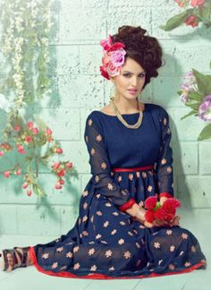 MidnightBlue1008 Embroidered Georgette Stitched Party Wear Kurti at Zikimo