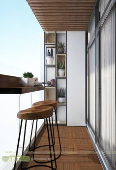 Smart Idea of Turning a Small Balcony Into a Mini Cafe and Bar Modern Balcony, Small Balcony Design, Small Balcony Decor, Glass Balcony, Small Outdoor Spaces, Balcony Ideas, Outdoor Living Areas, Condo Balcony, Apartment Balcony Decorating