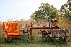 retro harvest chic wedding decor and breakfast bar
