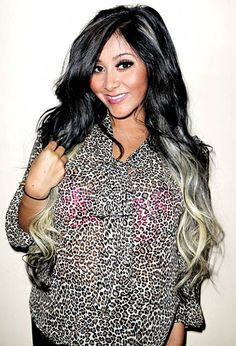 black hair with blonde highlights photo