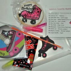 Energetic kids would love a skating party (roller skating or ice skating).  Shown here: Skate theme party favors