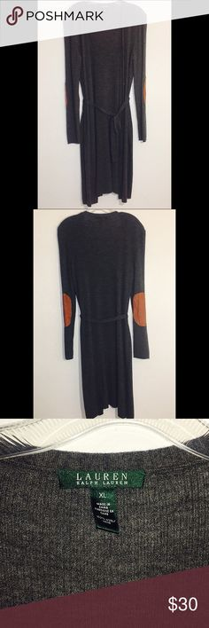 """Long Gray Leather Padded Cardigan New without tags 💖 has buttons to button up and a belt to tie. Brown leather padding on elbows. Length is 44"""" Lauren Ralph Lauren Sweaters Cardigans"""