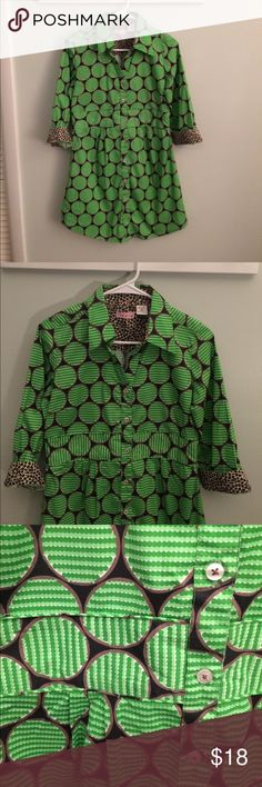 Tizzie dress NWOT. So much going on with this cute dress! Button front with collar. The background color is black with green circles Trimmed in Brown and of course leopard print accents to top it off. Length is 31 bust 36 waist 31 1/2. Cotton with 5% Lycra tizzie Dresses